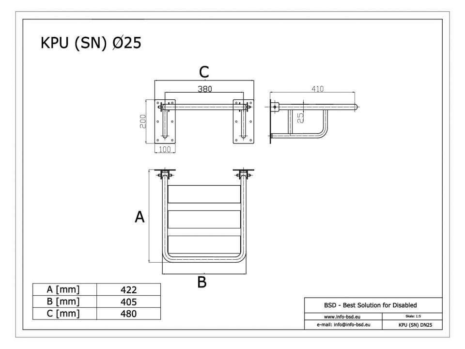 Duschklappsitz aus Edelstahl für barrierefreies Bad mit Wandstützen