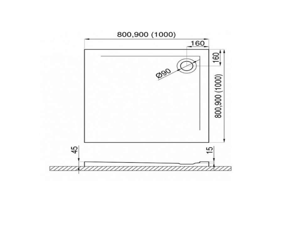 Duschwanne mit Abfluss in der Ecke für barrierefreies Bad 100 x 100 cm