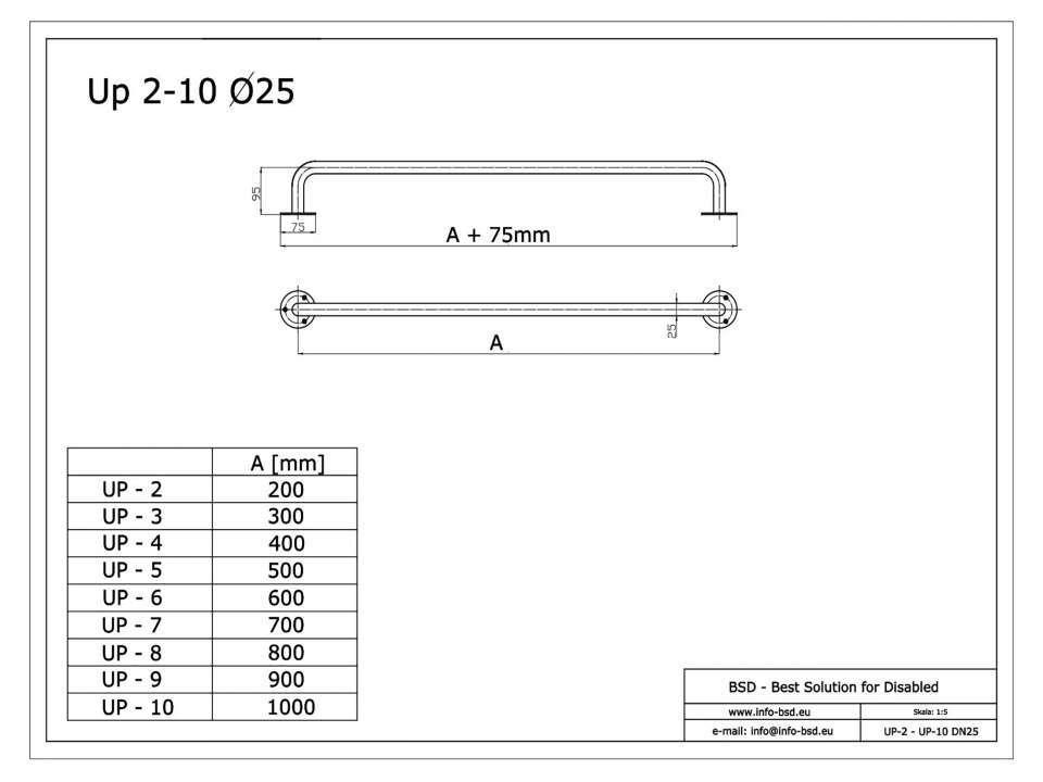 Haltegriff für barrierefreies Bad 80 cm weiß ⌀ 25 mm