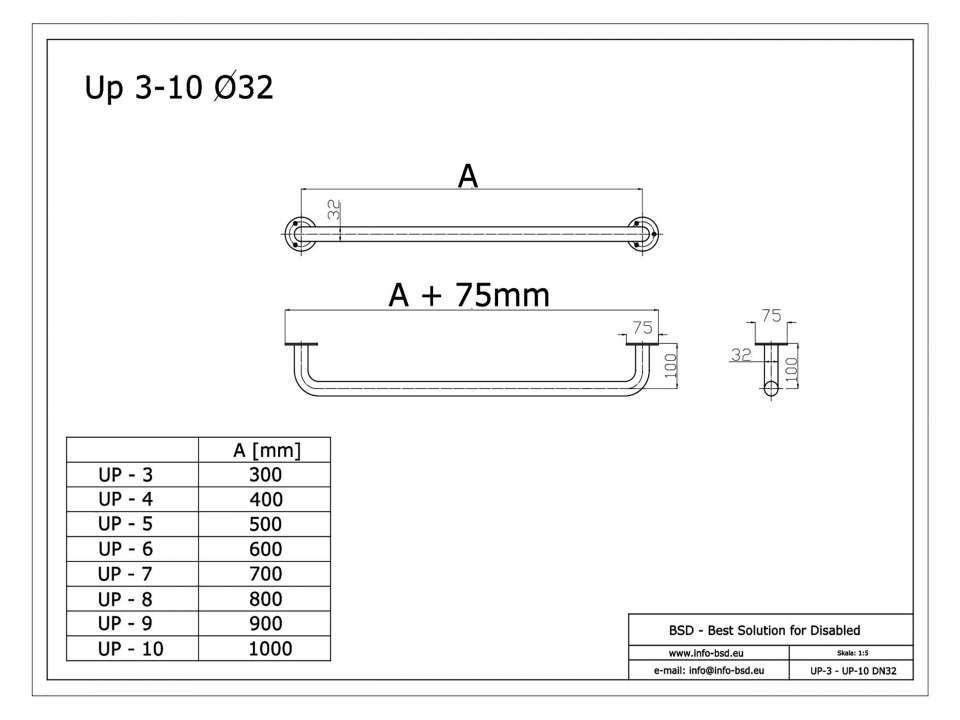 Haltegriff für barrierefreies Bad 90 cm aus rostfreiem Edelstahl ⌀ 32 mm mit Abdeckrosetten