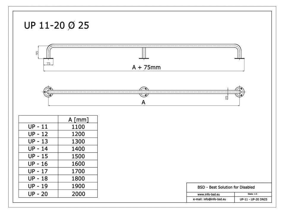 Handlauf für barrierefreies Bad 130 cm weiß ⌀ 25 mm