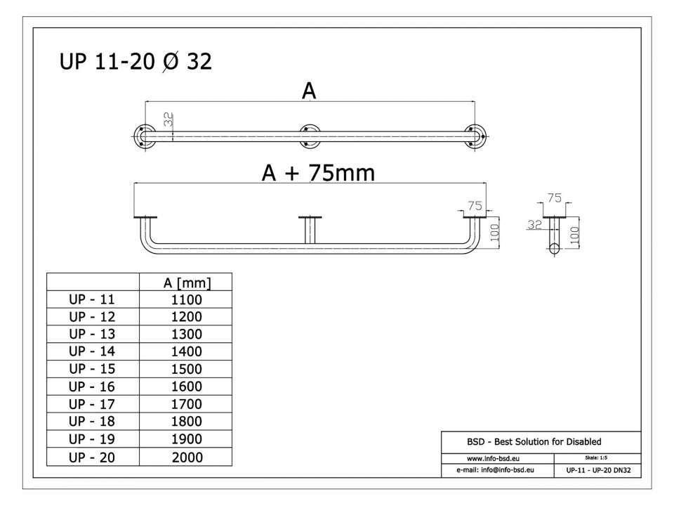 Handlauf für barrierefreies Bad 180 cm aus rostfreiem Edelstahl ⌀ 32 mm mit Abdeckrosetten