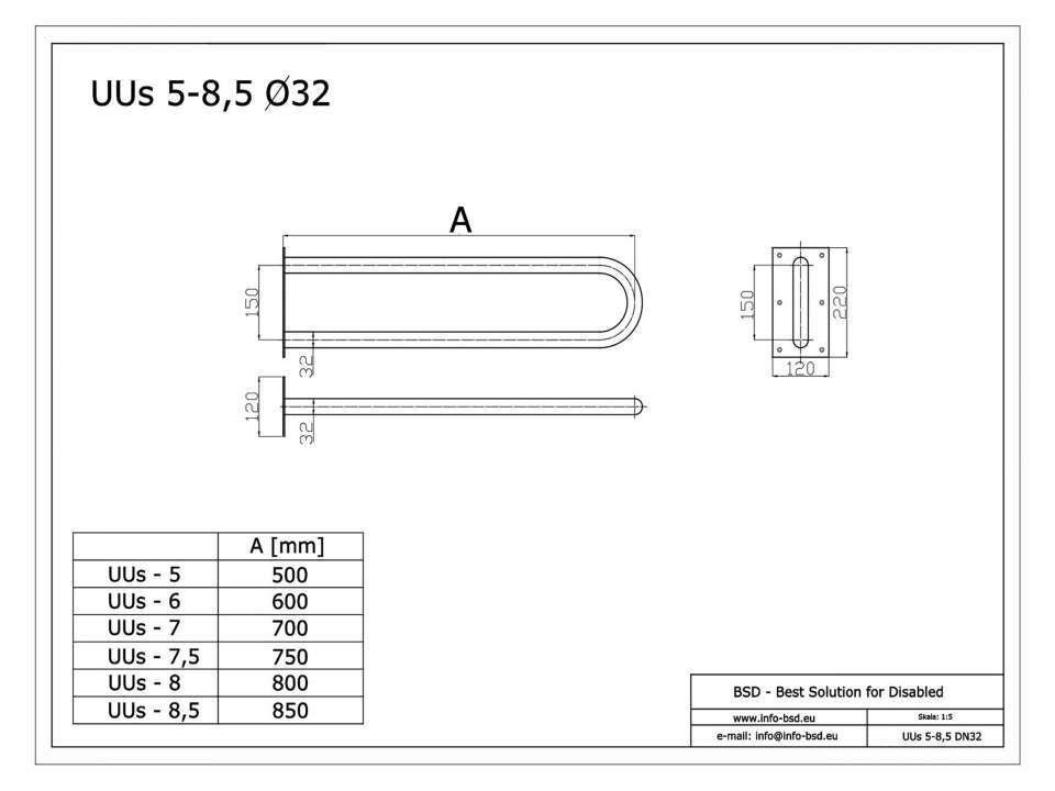 Stützgriff für barrierefreies Bad aus rostfreiem Edelstahl 75 cm ⌀ 32 mit Abdeckplatten