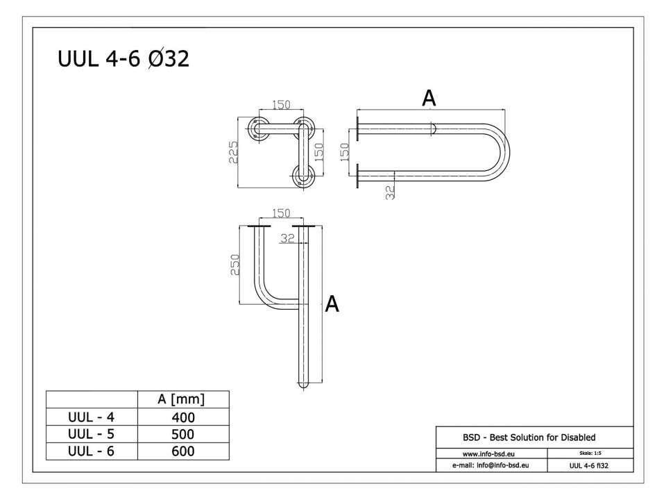 Stützgriff für barrierefreies Bad links montierbar 50 cm ⌀ 32 mm mit Abdeckrosetten