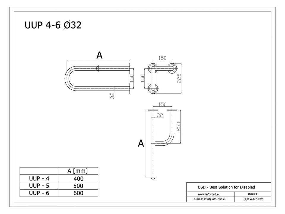 Stützgriff für barrierefreies Bad rechts montierbar 50 cm ⌀ 32 mm mit Abdeckrosetten