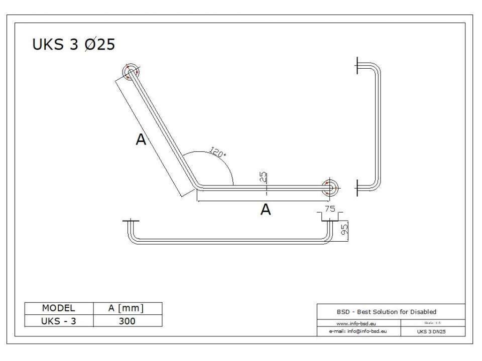 Stumpfwinkelgriff 30/30 cm für barrierefreies Bad aus rostfreiem Edelstahl ⌀ 25 mm