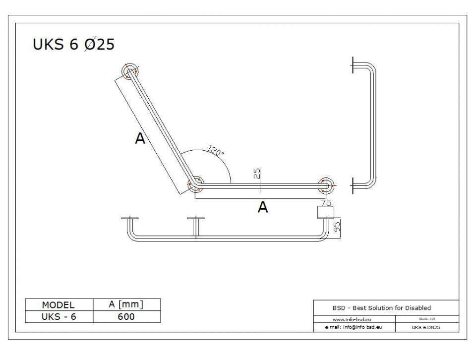 Stumpfwinkelgriff 60/60 cm für barrierefreies Bad aus rostfreiem Edelstahl ⌀ 25 mm