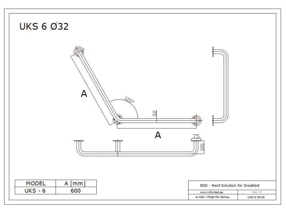 Stumpfwinkelgriff 60/60 cm für barrierefreies Bad weiß ⌀ 32 mm