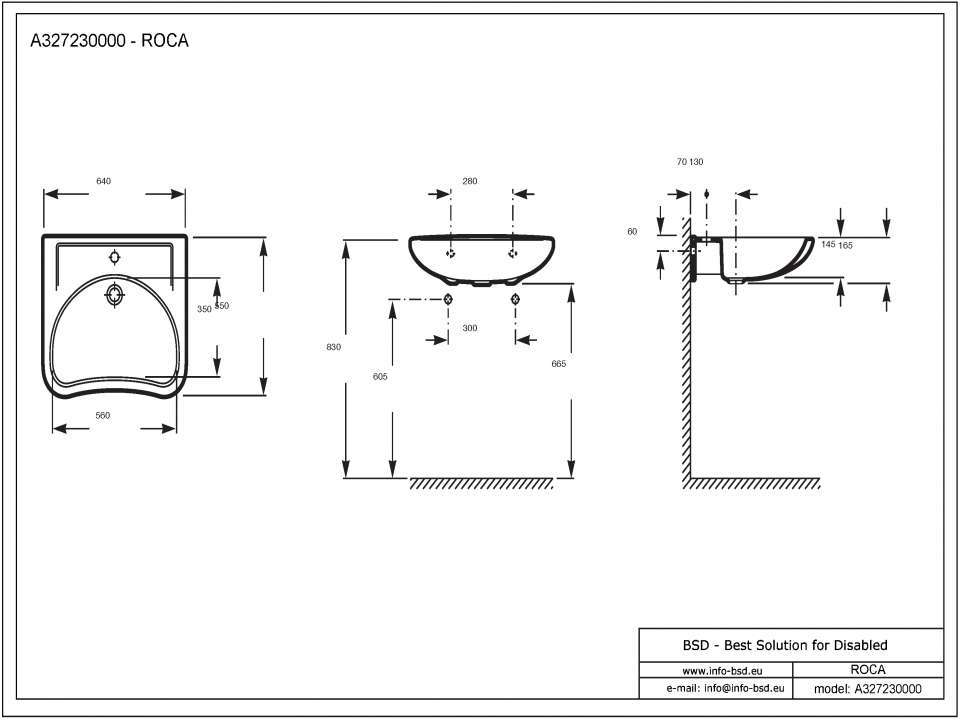 Super Unterfahrbarer Waschtisch für barrierefreies Bad 64 x 55 cm mit YP19