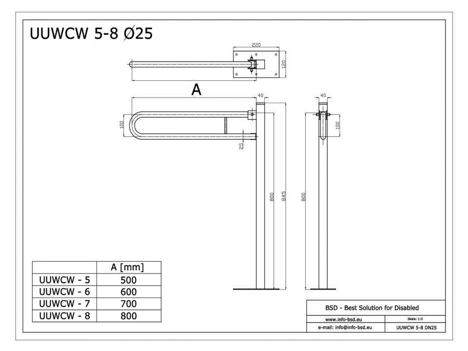 WC Klappgriff freistehend für barrierefreies Bad 50 cm aus rostfreiem Edelstahl ⌀ 25 mm