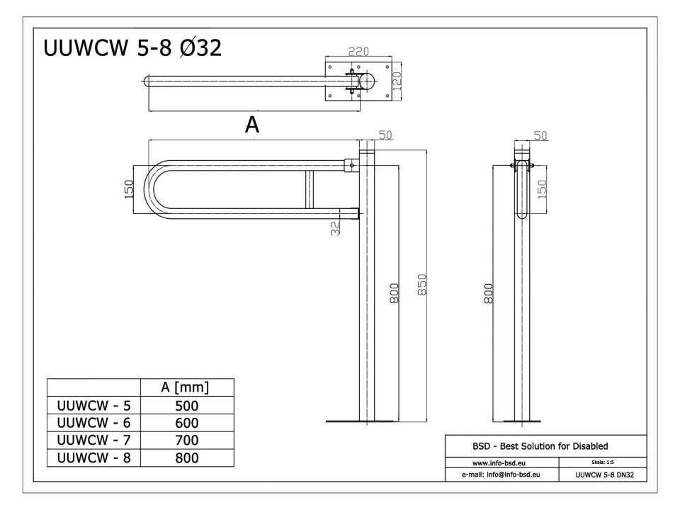 WC Klappgriff freistehend für barrierefreies Bad aus rostfreiem Edelstahl 75 cm ⌀ 32 mm / ⌀ 50 mm