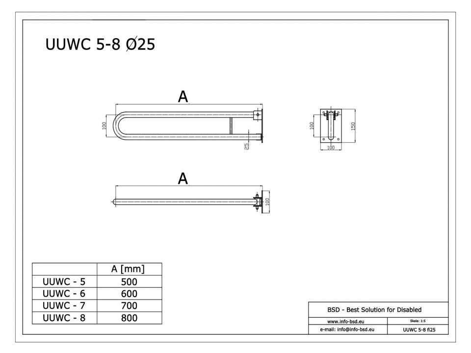 WC Klappgriff für barrierefreies Bad 50 cm aus rostfreiem Edelstahl ⌀ 25 mm