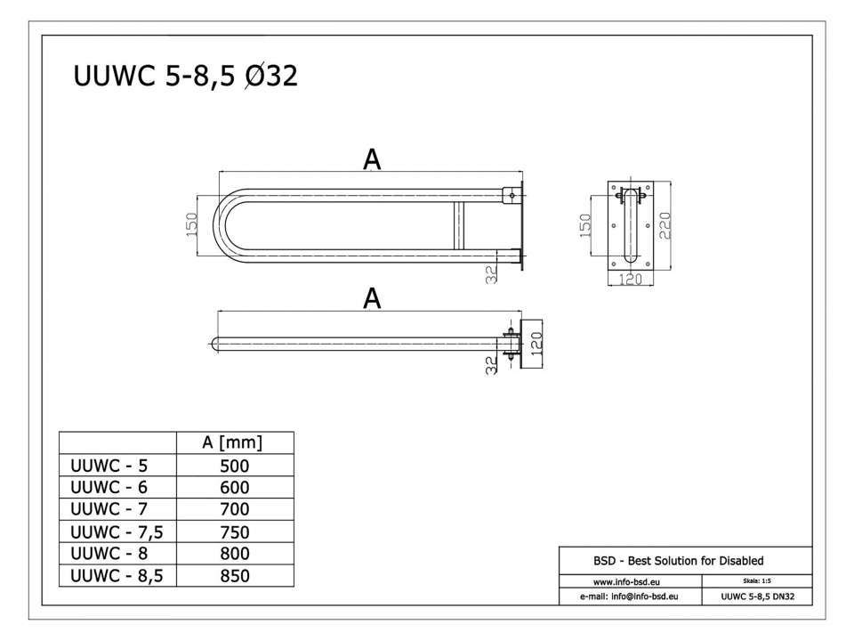 WC Klappgriff für barrierefreies Bad aus rostfreiem Edelstahl 75 cm ⌀ 32 mm
