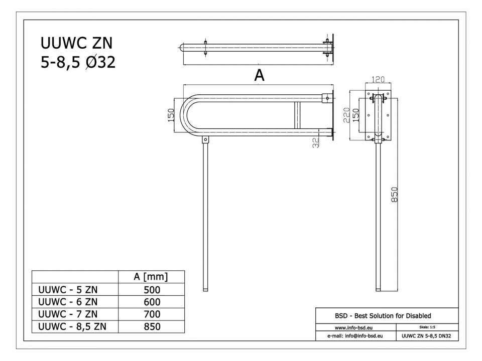 WC Klappgriff für barrierefreies Bad mit Stützbein 75 cm aus rostfreiem Edelstahl ⌀ 32 mm