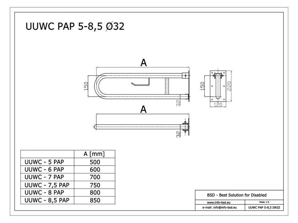 WC Klappgriff für barrierefreies Bad mit Toilettenpapierhalter aus rostfreiem Edelstahl 85 cm ⌀ 32 mit Abdeckplatten