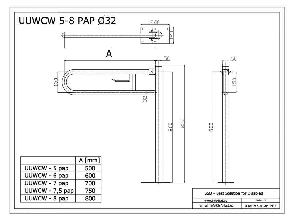 WC Klappgriff mit Toilettenpapierhalter freistehend für barrierefreies Bad aus rostfreiem Edelstahl 85 cm ⌀ 32/50 mm