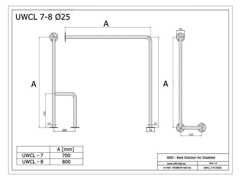 WC Stützgriff für barrierefreies Bad links montierbar 70 cm aus rostfreiem Edelstahl ⌀ 25 mm