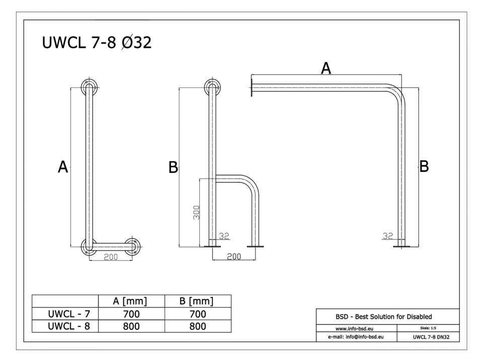 WC Stützgriff für barrierefreies Bad links montierbar weiß 70 cm ⌀ 32 mm mit Abdeckrosetten