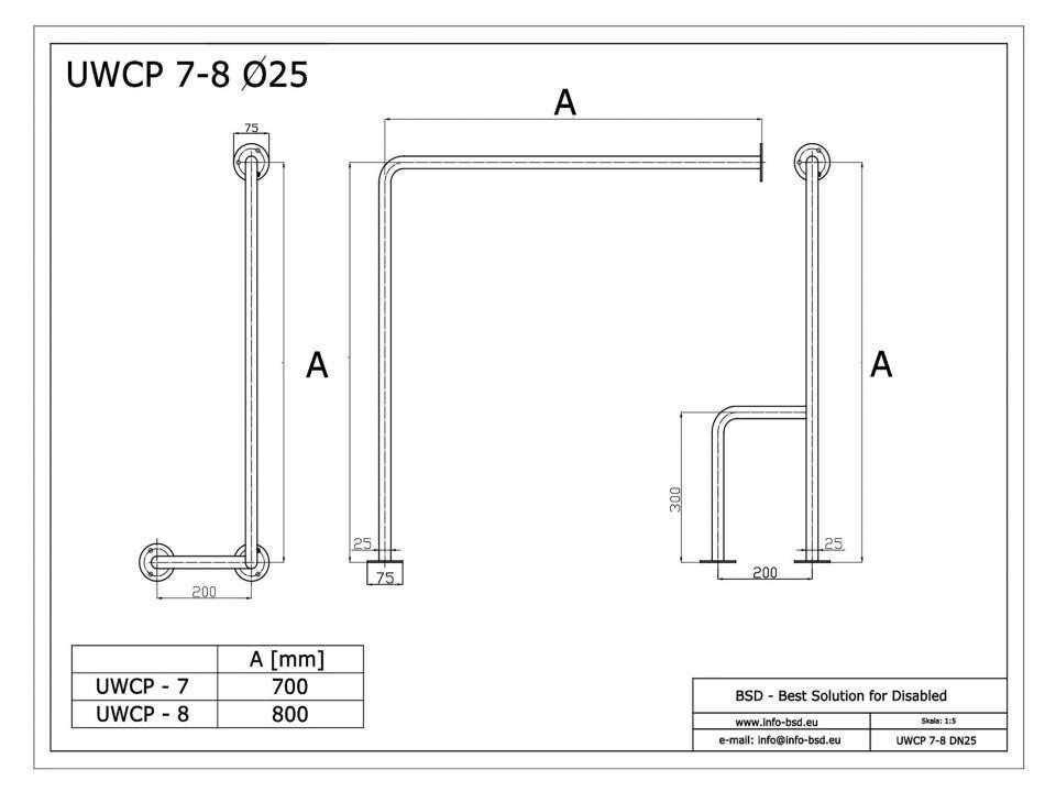 WC Stützgriff für barrierefreies Bad rechts montierbar 80 cm aus rostfreiem Edelstahl ⌀ 25 mm