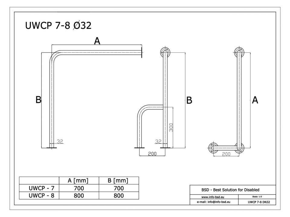 WC Stützgriff für barrierefreies Bad rechts montierbar weiß 70 cm ⌀ 32 mm mit Abdeckrosetten