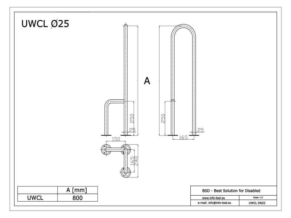 WC Stützgriff für barrierefreies Bad zur Bodenmontage links 80 cm hoch aus rostfreiem Edelstahl ⌀ 25 mm