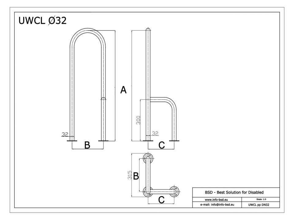 WC Stützgriff für barrierefreies Bad zur Bodenmontage links 80 cm hoch weiß ⌀ 32 mm