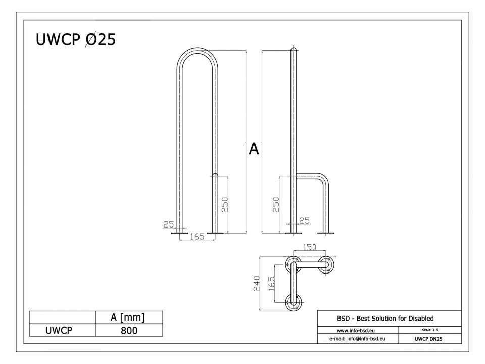 WC Stützgriff für barrierefreies Bad zur Bodenmontage rechts 80 cm hoch aus rostfreiem Edelstahl ⌀ 25 mm