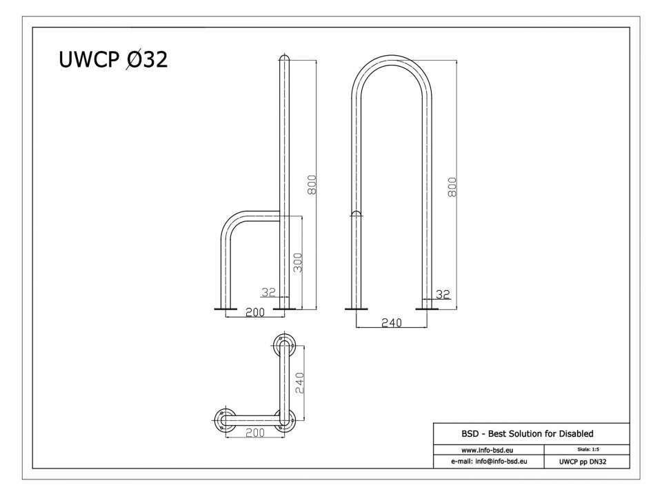 WC Stützgriff für barrierefreies Bad zur Bodenmontage rechts 80 cm hoch weiß ⌀ 32 mm mit Abdeckrosetten