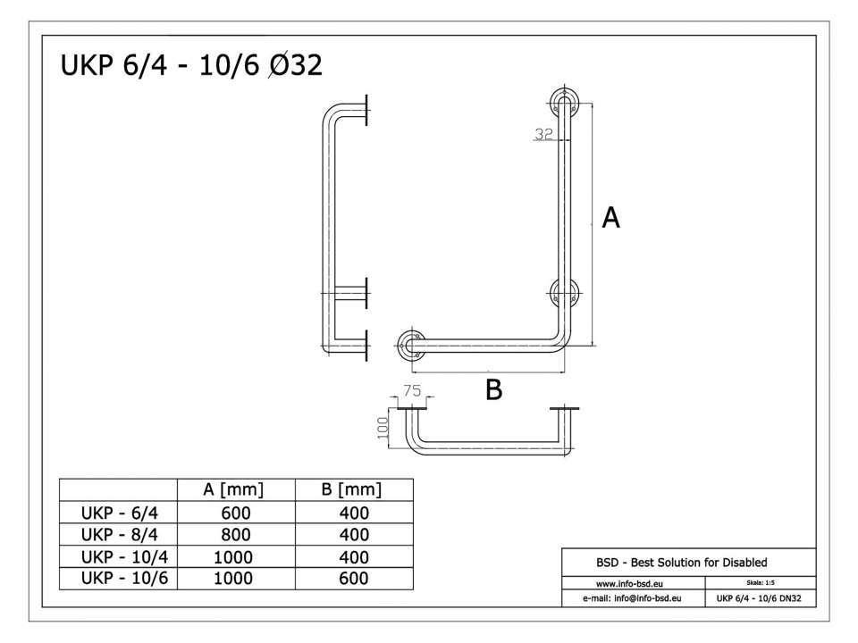 Winkelgriff 100/40 cm für barrierefreies Bad rechts montierbar weiß ⌀ 32 mm mit Abdeckrosetten