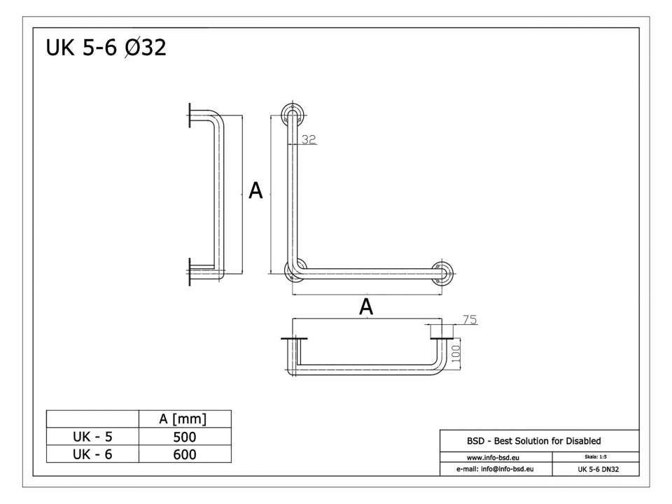 Winkelgriff 50/50 cm für barrierefreies Bad links/rechts montierbar weiß ⌀ 32 mm mit Abdeckrosetten