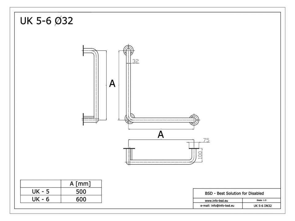 Winkelgriff 70/70 cm für barrierefreies Bad links/rechts montierbar weiß ⌀ 32 mm