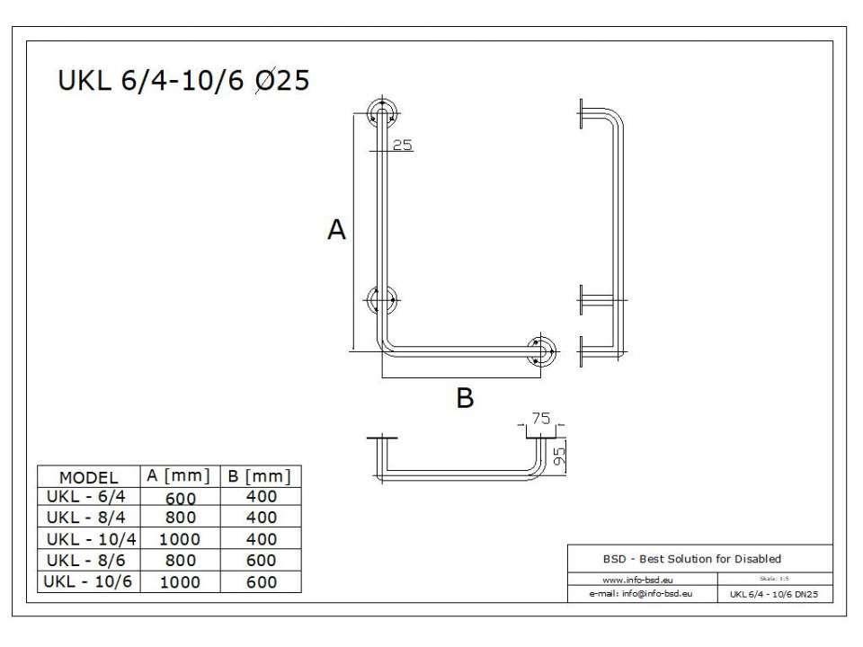 Winkelgriff 80/40 cm für barrierefreies Bad links montierbar weiß ⌀ 32 mm