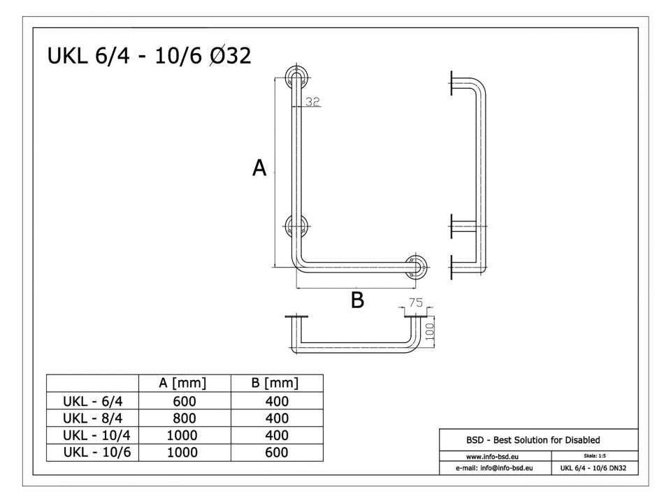 Winkelgriff 80/60 cm für barrierefreies Bad links montierbar weiß ⌀ 32 mm mit Abdeckrosetten