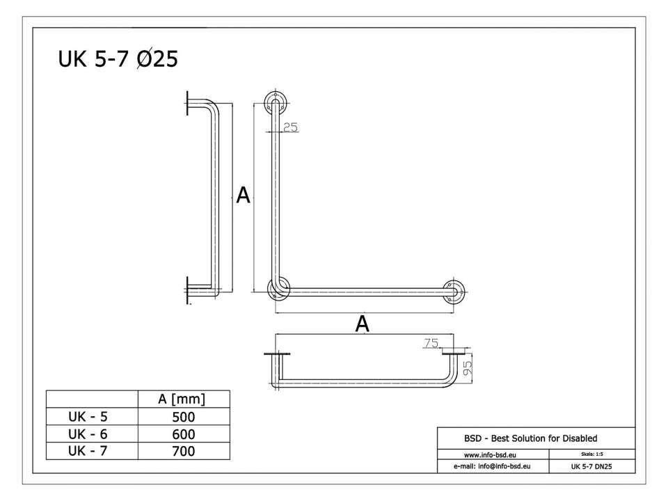 Winkelgriff für barrierefreies Bad 50/50 cm aus rostfreiem Edelstahl ⌀ 25 mm